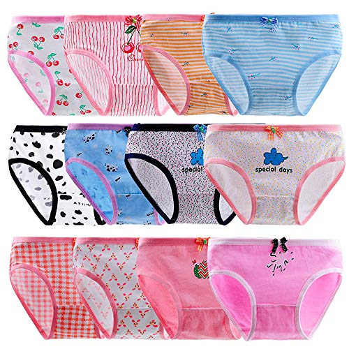 Anktry Baby 12 Pack Panties Soft Comfort Knickers Cotton Underwear Little Girls Assorted Briefs 2-10 Yrs (Multicoloured-3, M(4-6) Years) (Underwear 5 Size Girl)