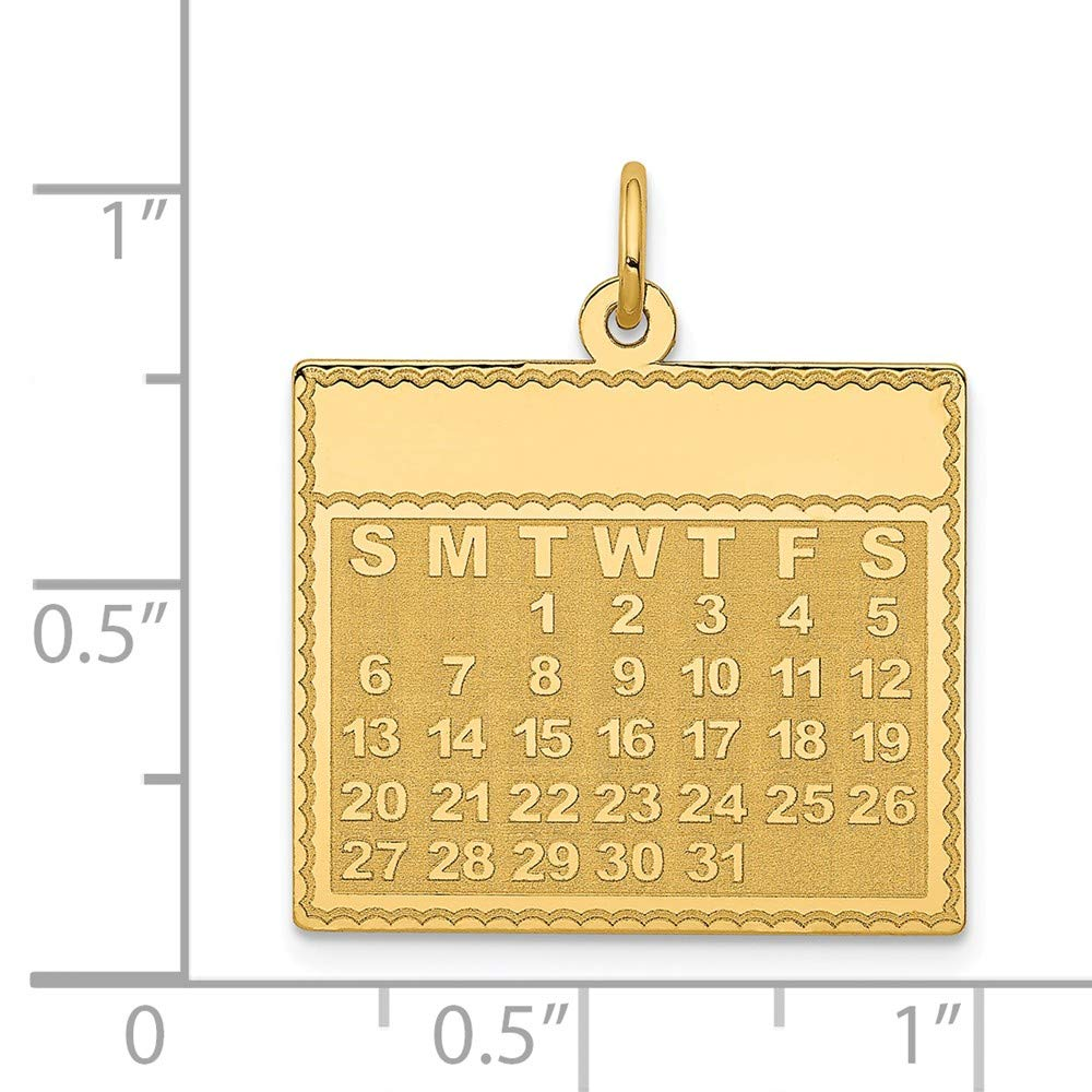 Mia Diamonds 14k Yellow Gold Tuesday the First Day Calendar Pendant