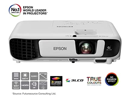 Epson EB-S41 3LCD 3300 Lumens 300 Inch SVGA Display Projector, White