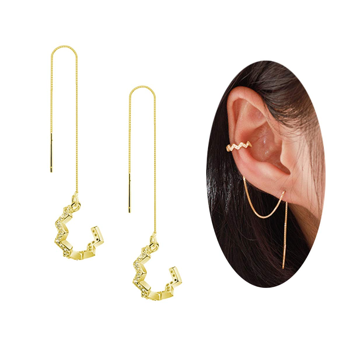 FarryDream 925 Sterling Silver New Arrival Wave Cuff Earrings Wrap Tassel Earrings for Women Threader Earrings Perfect Valentine's Day Gifts (yellow-gold-plated)