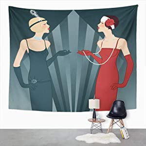 Suklly Tapestry Wall Hanging Beige 1920S Flapper Girls Series Retro Party Black 1930S Home Decor Polyester Living Bedroom Dorm 60 X 80 Inches Picnic Mat Beach Towel Bed Cover
