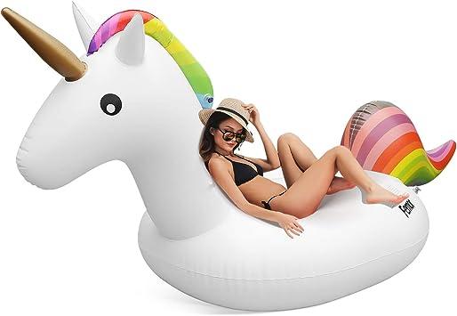 FEMOR Flotador Unicornio Gigante Hinchable Colchonetas Piscina Inflable para Playa Aire Libre Diversión para 1-2 Personas Niños y Adultos (270cm X 120cm X 140cm): Amazon.es: Juguetes y juegos