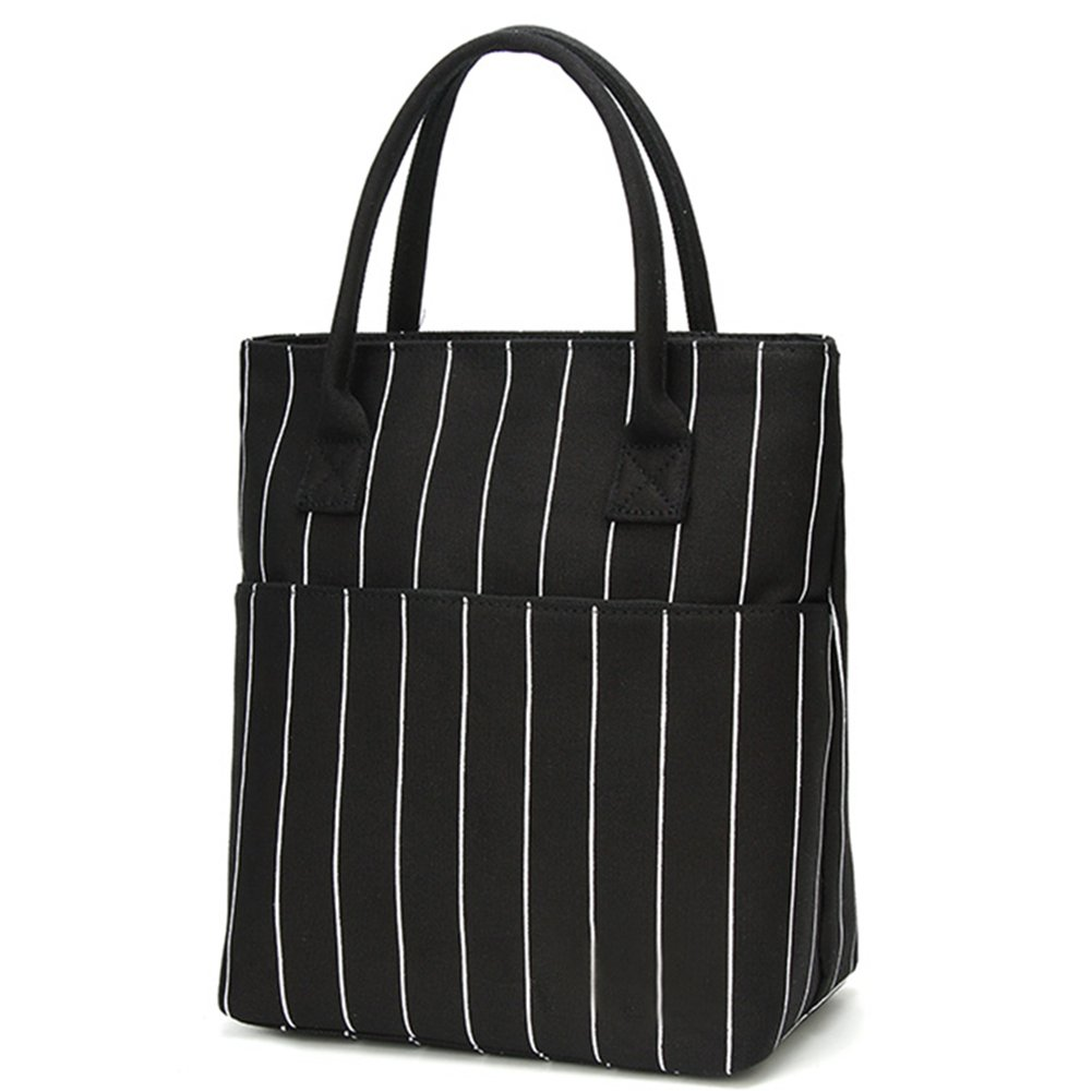 Heymoko Medium Insulated Lunch Bag Stripe Durable Canvas Lunch Tote High Capacity Lunch Box for Girls Women, Suitable for School Work Shopping (Black-Stripe)