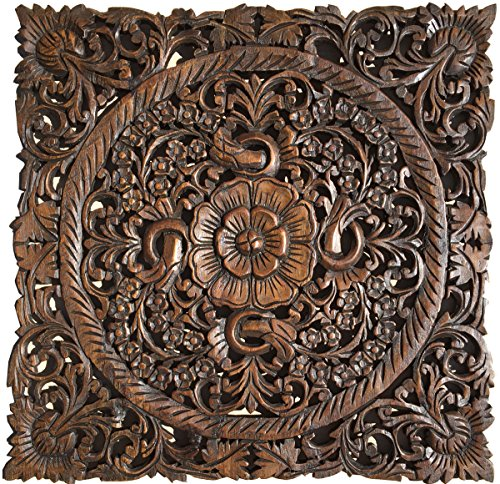 Asian Wall Art Home Decor. Wood Carved Wall Plaque Sculpture 24u2033 Square