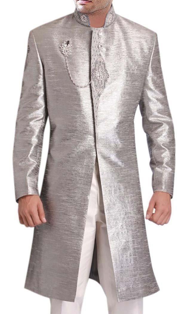 INMONARCH Mens Wedding Party Jodhpuri Designer Long Coat IN184 52R Silver