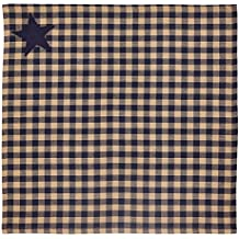vhc brands navy star checkered napkin in blue and tan set of 2 - Vhc Brands