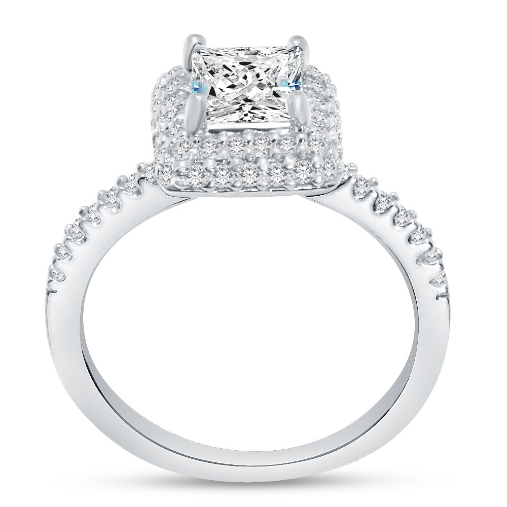 Sterling Silver CZ Princess Halo Engagement Ring Square Set w Round Sidestones 1.50cttw 1.0ct Center