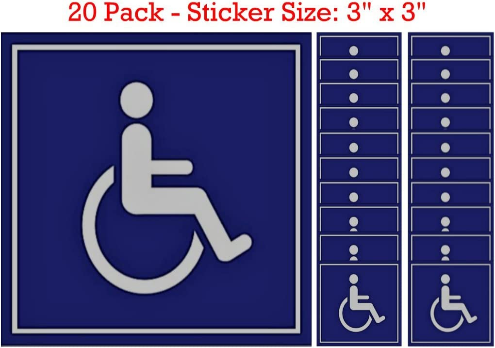 "Blue /& White 6/"" Square Wheelchair Accessible Handicap Sticker Decal 3M Brand NEW"