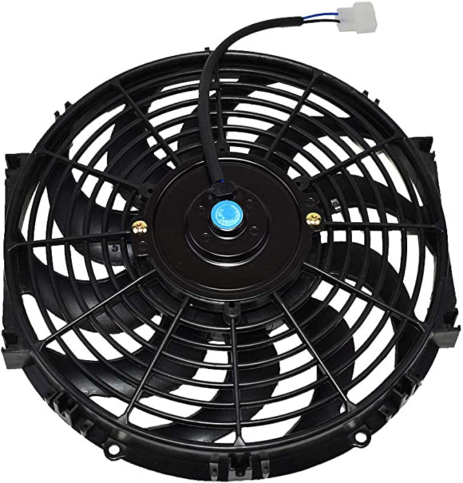 """A-Team Performance 170071 12"""" Radiator Electric Cooling Fan Car Transmission Cooler Heavy Duty 10 Curved Blades 12V 1400 CFM Reversible Push or Pull with Mounting Kit Black 12 Inches"""
