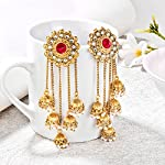 Shining Diva Fashion Gold Plated Stylish Pearl Jhumka Jhumki Traditional Earrings for Women and Girls (Golden)(8460er)