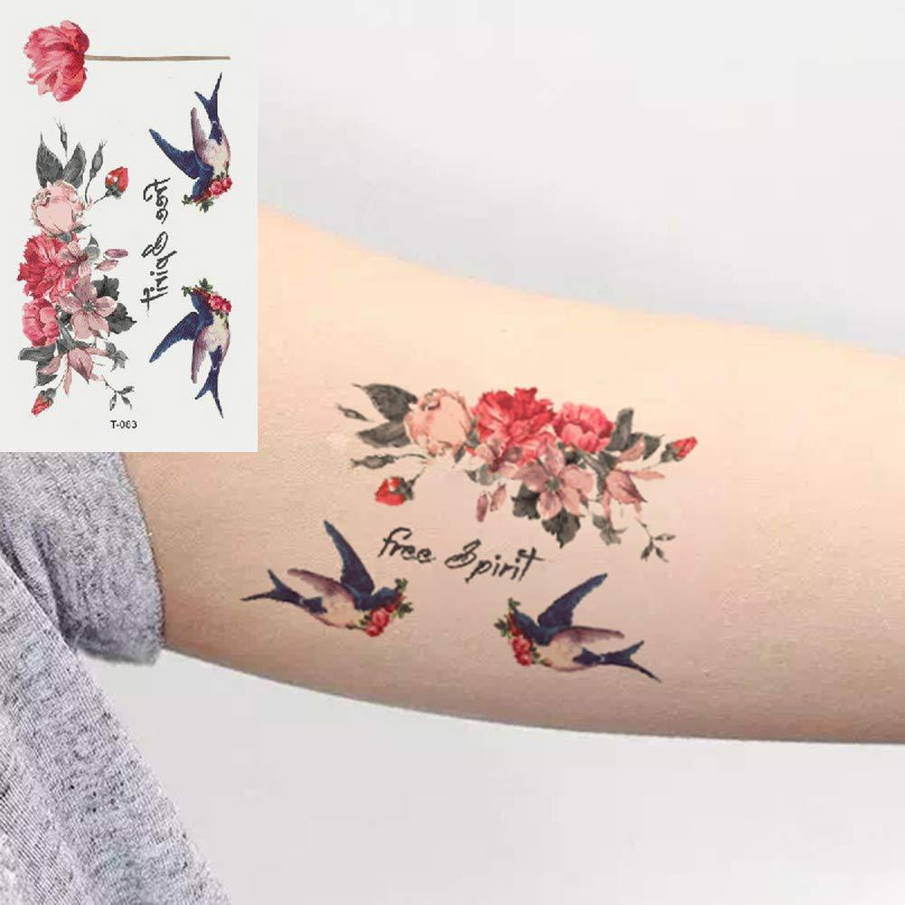 Oottati 2 Hojas Pequeño Lindo Tatuaje Temporal Tattoo Tragar Flor ...