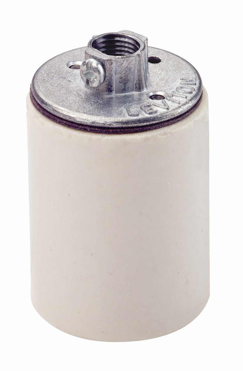 Leviton 10045 Medium Base, One-Piece, Keyless, Incandescent, Glazed Porcelain Lampholder (White)