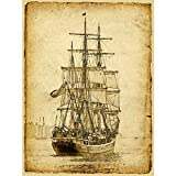 Sailing Ship Poster Print Art Picture Vintage Style Nautical Old Sailboat Home Wall Canvas Decor