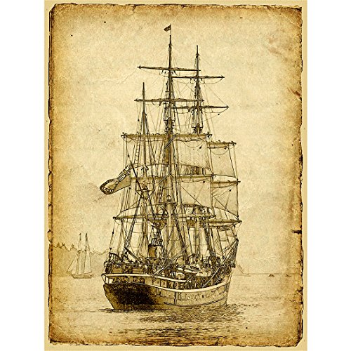 Sailing Ship Poster Print Art Picture Vintage Style Nautical Old Sailboat Home Wall Canvas