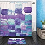 Vanfan Bathroom 2?Suits 1 Shower Curtains & ?1 Floor Mats Creative abstract hand painted background wallpaper texture. Abstract composition for design elements. Close up fragment of acrylic painting o