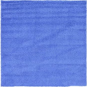 Unique Loom Solo Solid Shag Collection Modern Plush Periwinkle Blue Square Rug (8' 2 x 8' 2)
