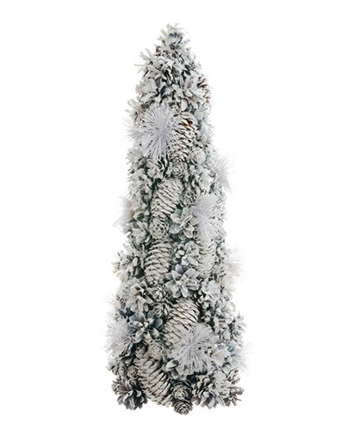 White Glitter Pine Cone & Pine Needle Tree Tabletop Christmas Decoration