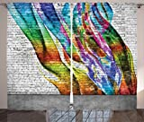 Cheap Ambesonne Rustic Home Decor Curtains, Abstract Graffiti Painted on Wall Harmony of Colors Street Art Fresco Print, Living Room Bedroom Window Drapes 2 Panel Set, 108W X 84L Inches, Multi
