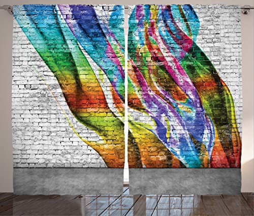 Ambesonne Rustic Home Decor Curtains, Abstract Graffiti Painted on Wall Harmony of Colors Street Art Fresco Print, Living Room Bedroom Window Drapes 2 Panel Set, 108W X 90L Inches, Multi ()