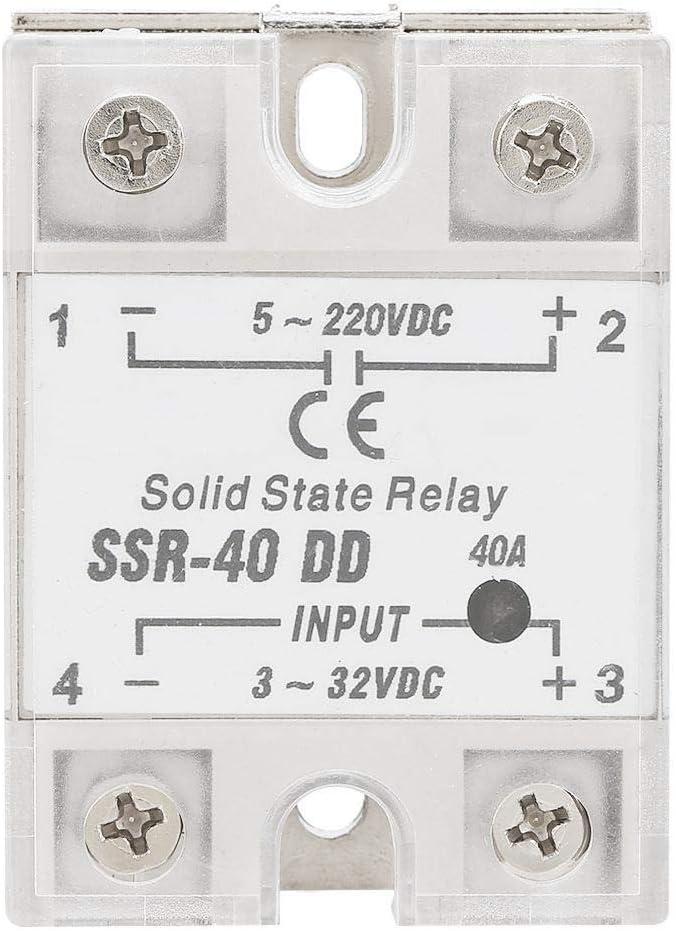 Akozon Módulo de Relé de Estado Sólido SSR-40 DD 40A 5-220V DC ...