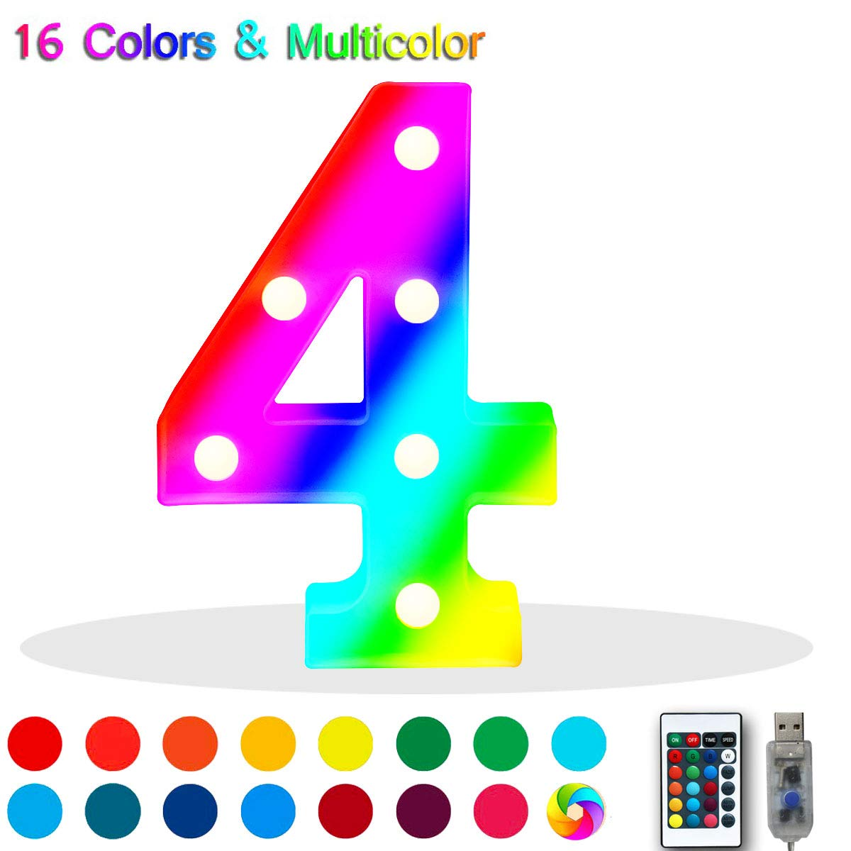 Battery Operated LED Remote Timer Home Bar Decor Name Signs Oycbuzo 16 Color Changing Marquee Letter Light,Light Up Colorful 26 Alphabet Signs