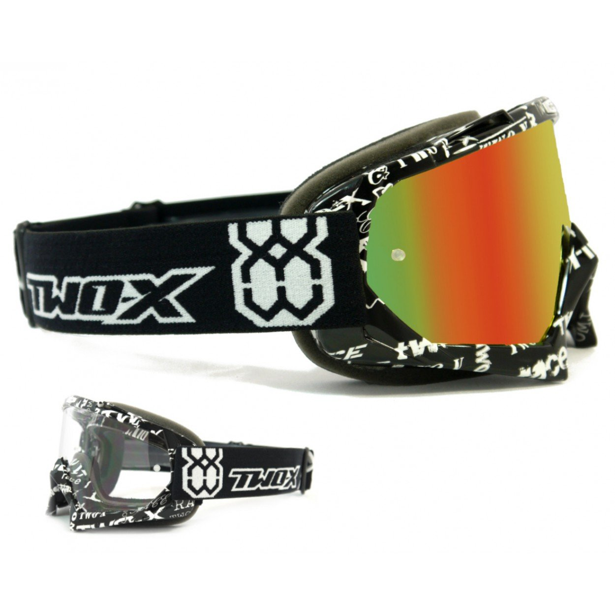 Anti scratch. Gafas Two-X Race para cross Gafas para motocross o enduro Color rojo y amarillo espejadas