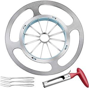 Apple Slicer, 12-Blade Apple Cutter Fruite Slicer Stainless Steel Apple Slicer and Corer for Apple Divider, Core and Cutter, with 3 Forks and Apple Corer