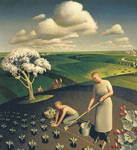 Grant Wood Prints - Wall Art Print entitled Grant Wood, Planting Seedlings by Celestial Images   16 x 17