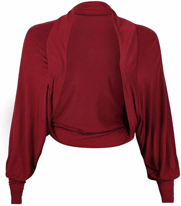 FashionMark Womens Plain Long Batwing Sleeves Bolero Shrug Top