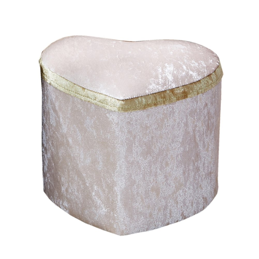 HM&DX Upholstered Footstool Ottoman,Heart shape European decor Solid wood Coffee table Sofa Footrest stool Living room -champagne L