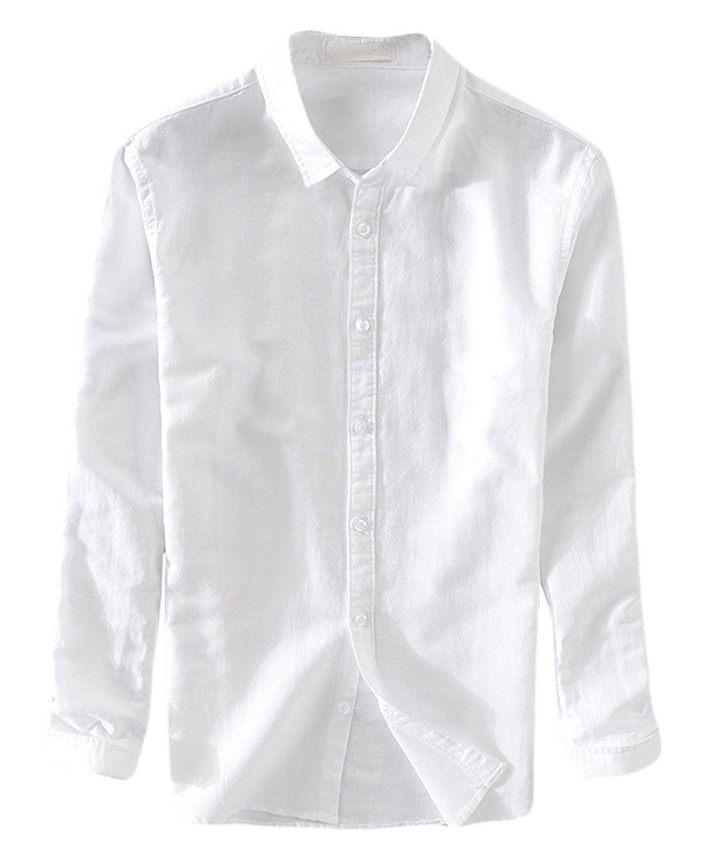 utcoco Men's Original Collared Front Button Slim Long Sleeve Linen Shirts One Pocket (Large, White-No Pocket)