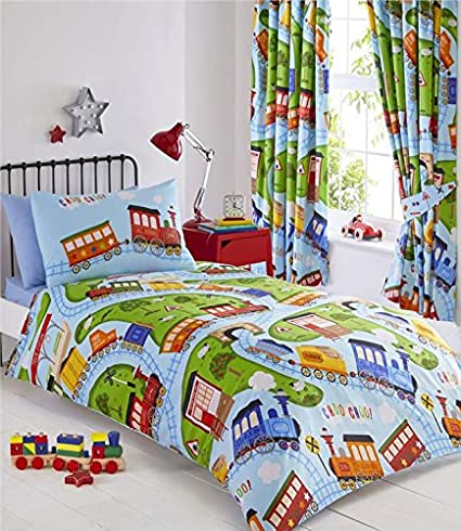 new products 9c605 a2ca7 Homemaker Boys blue toy train duvet sets childrens bedding