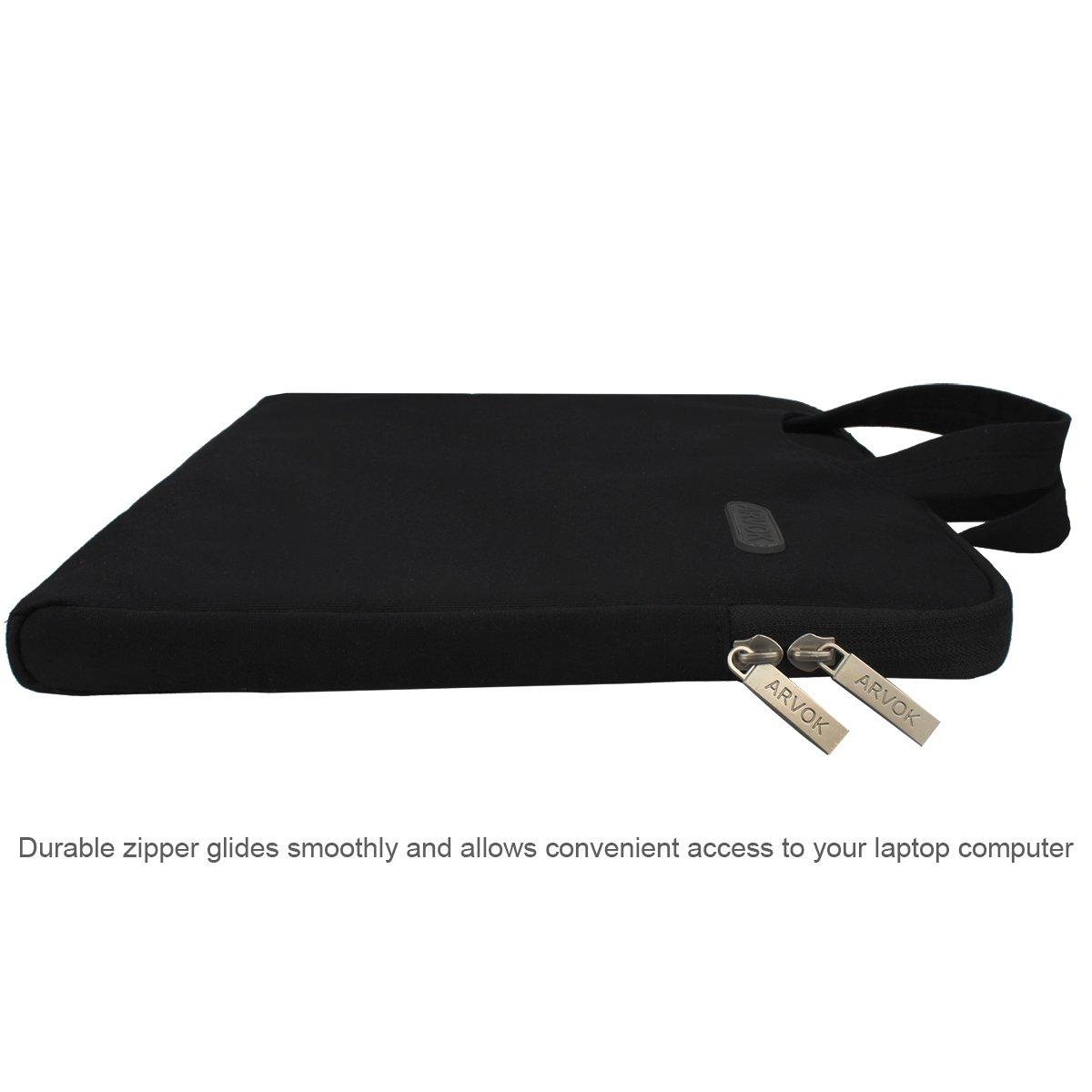 Arvok 15 15.6 Inch Multi-Color & Size Water-resistant Laptop Sleeve Bag with Handle/Notebook Computer Case/Ultrabook Briefcase Carrying Bag, Black by ARVOK (Image #6)
