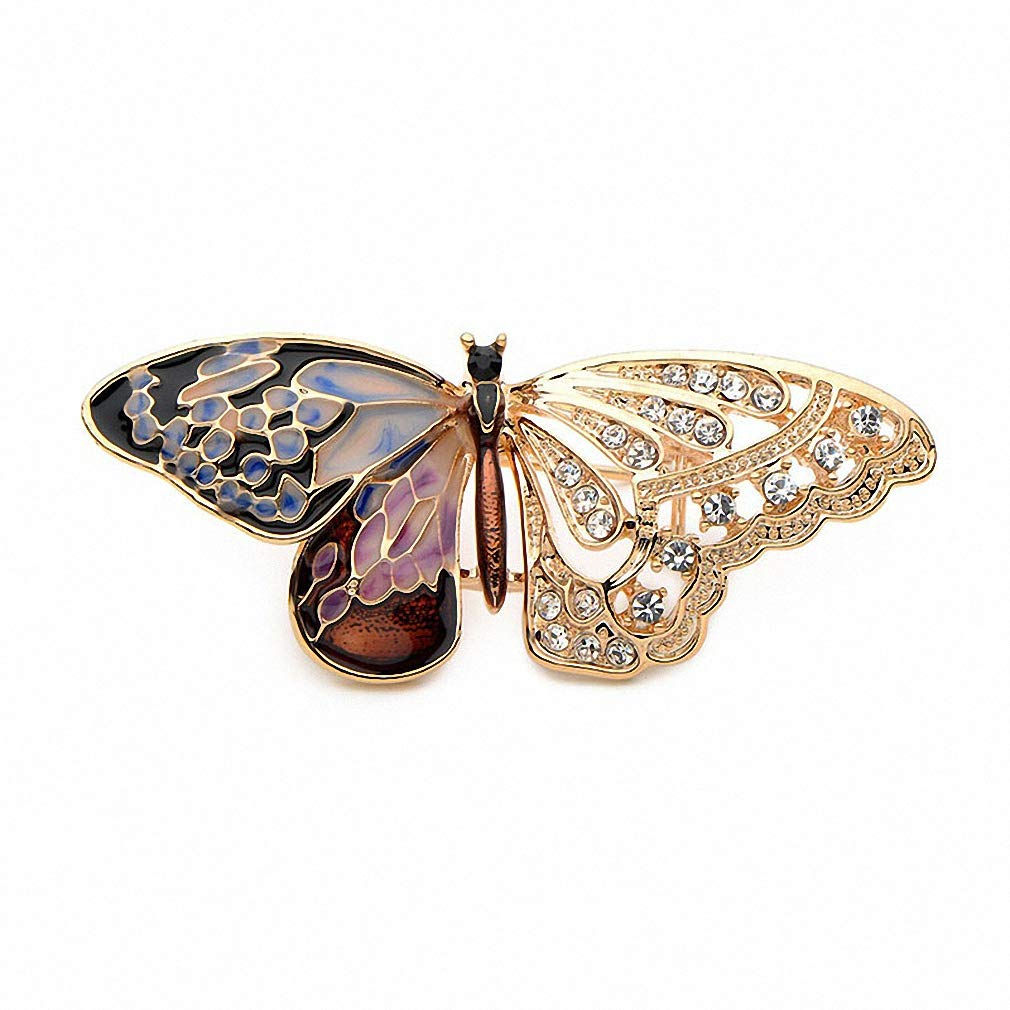 Jana Winkle Alloy Purple Enamel Butterfly Brooches Rhinestone Insects Banquet Wedding Party Brooch Gifts Purple