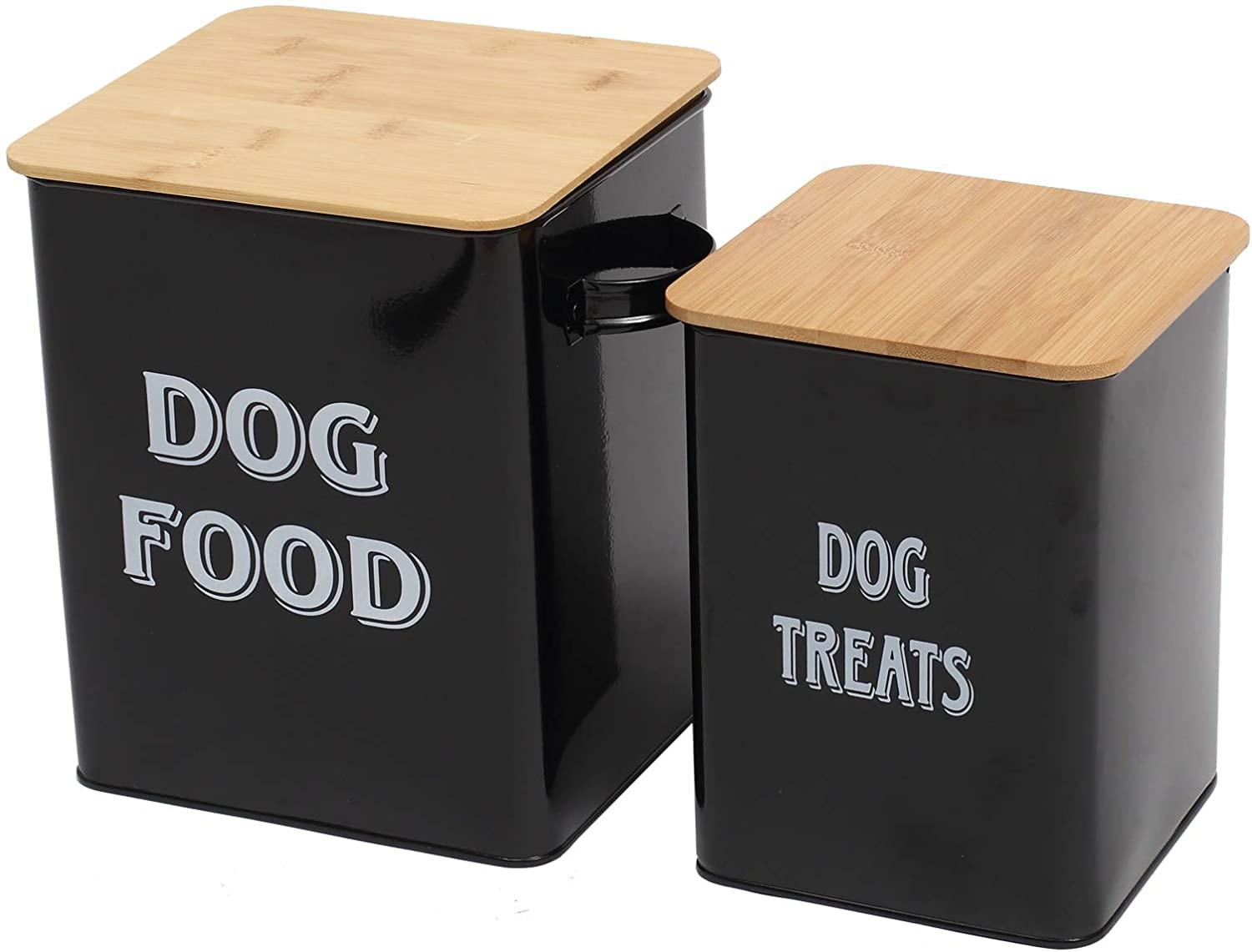 Pethiy Dog Food and Treats Storage tin Containers Set with Scoop for Dogs-Tight Fitting Wood Lids-Coated Carbon Steel-Storage Canister Tins