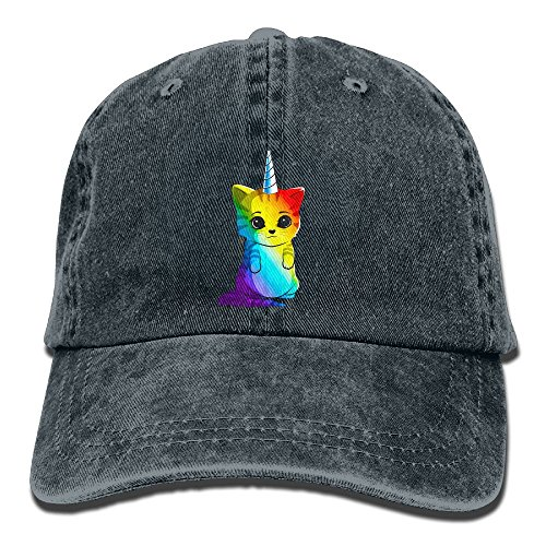 H-FUN Denim Baseball Hats Rainbow Unicorn Cat Patern Soft Adult Vintage Washed Cotton Sport Outdoor Adjustable Caps, (Cat In The Hat Custome)