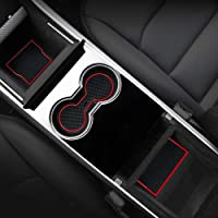 MagicCar Custom Fit Cup,Door,Center Console Liner Accessories for Tesla Model 3 2017 2018 2019 13-PC Set(Red Trim)
