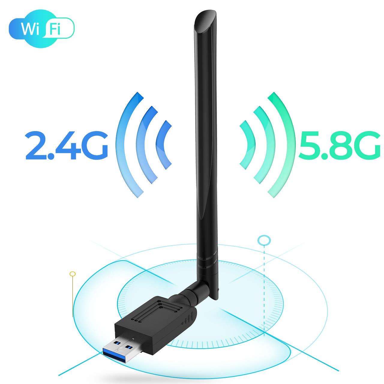 USB WiFi Adapter, 1200Mbps Mini 802.11ac Dual Band 2.4GHz/5.8GHz Wireless Network Adapter with USB 3.0 Wireless Network Antenna for PC/Desktop/Laptop Support Windows 10/8/8.1/7/Vista/XP/Mac 10.5-10.13 by MIZOO