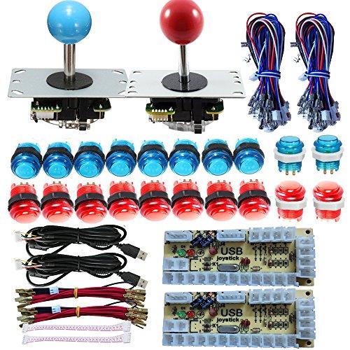 Tongmisi Arcade DIY LED Kit with Zero Delay USB Encoder to PC Arcade Games 8 Way Joystick + 5V LED Illuminated Arcade Push Buttons (Red and Blue)