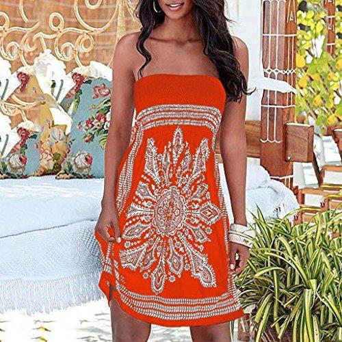 Robe Floral GreatestPAK sans Plage Femme bohme dcontracte Bretelles Orange de Mini imprim Robe WIqYARx