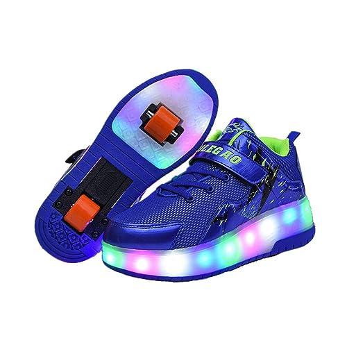 Zapatillas con Ruedas,Niños Niñas LED Luces Luminosas Flash Zapatos de Skate Gimnasia Al Aire