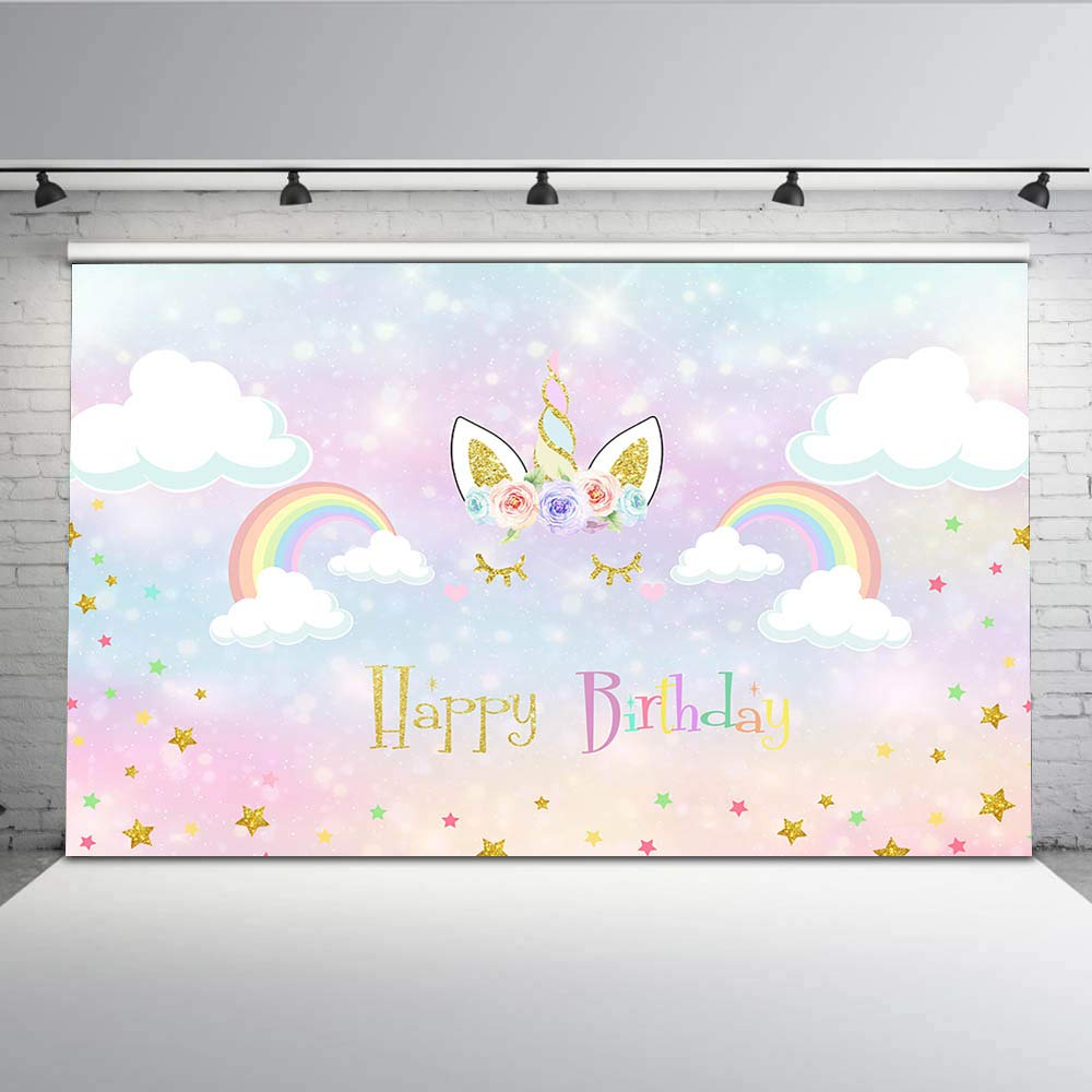 Mehofoto Pastel Unicorn Birthday Backdrop Rainbow Glitter Star Background Photography For Girls 7x5 Happy Backdrops