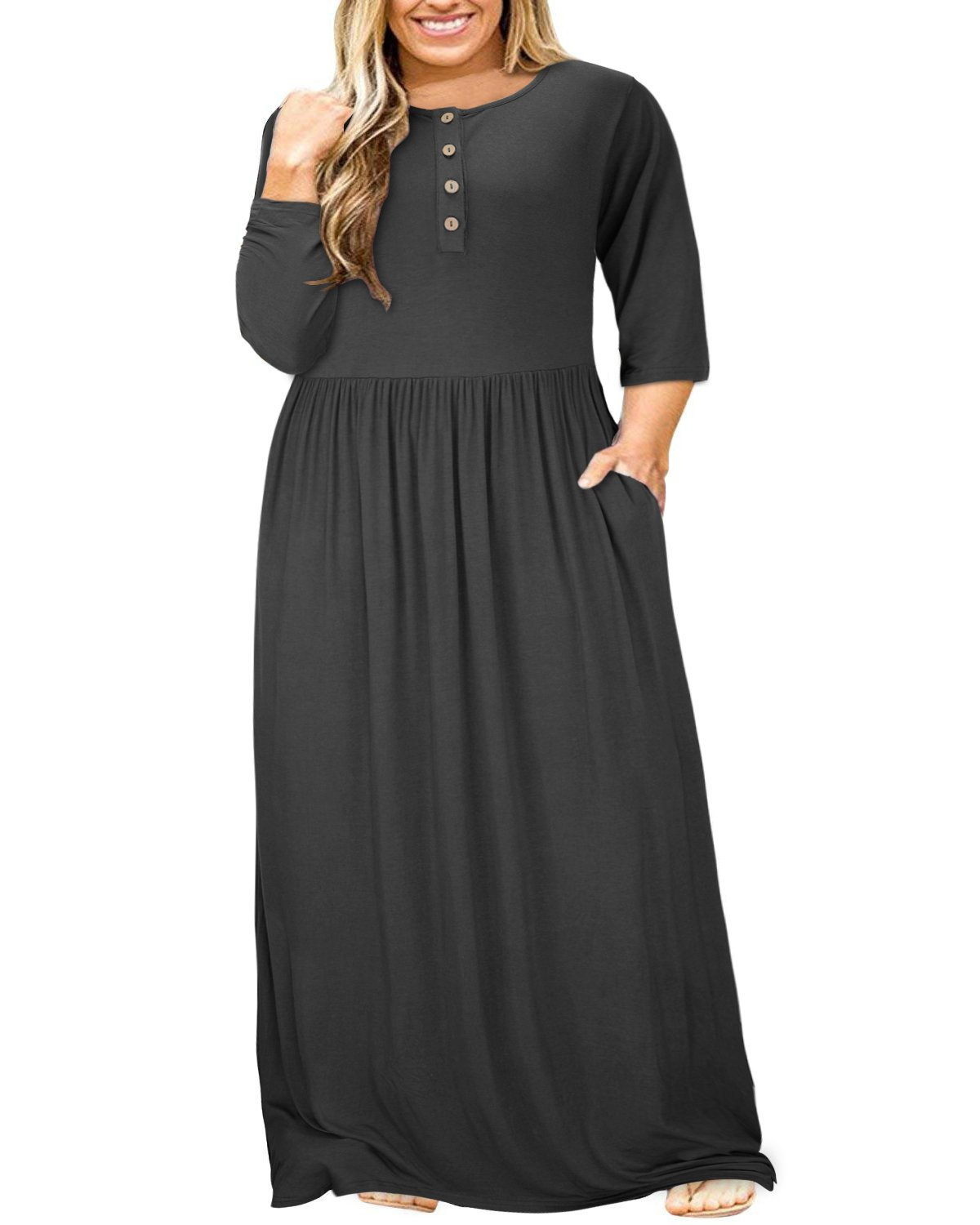 ULTRANICE Women 3/4 Sleeve Plus Size Button Solid Maxi Long Dress with Pockets (Black,3XL)