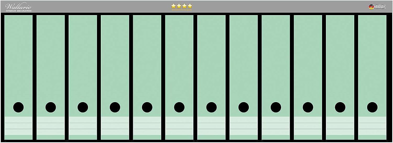 Wallario Ordnerr/ücken Sticker Pastellgr/ün in Premiumqualit/ät passend f/ür 6 breite Ordnerr/ücken Gr/ö/ße 36 x 30 cm