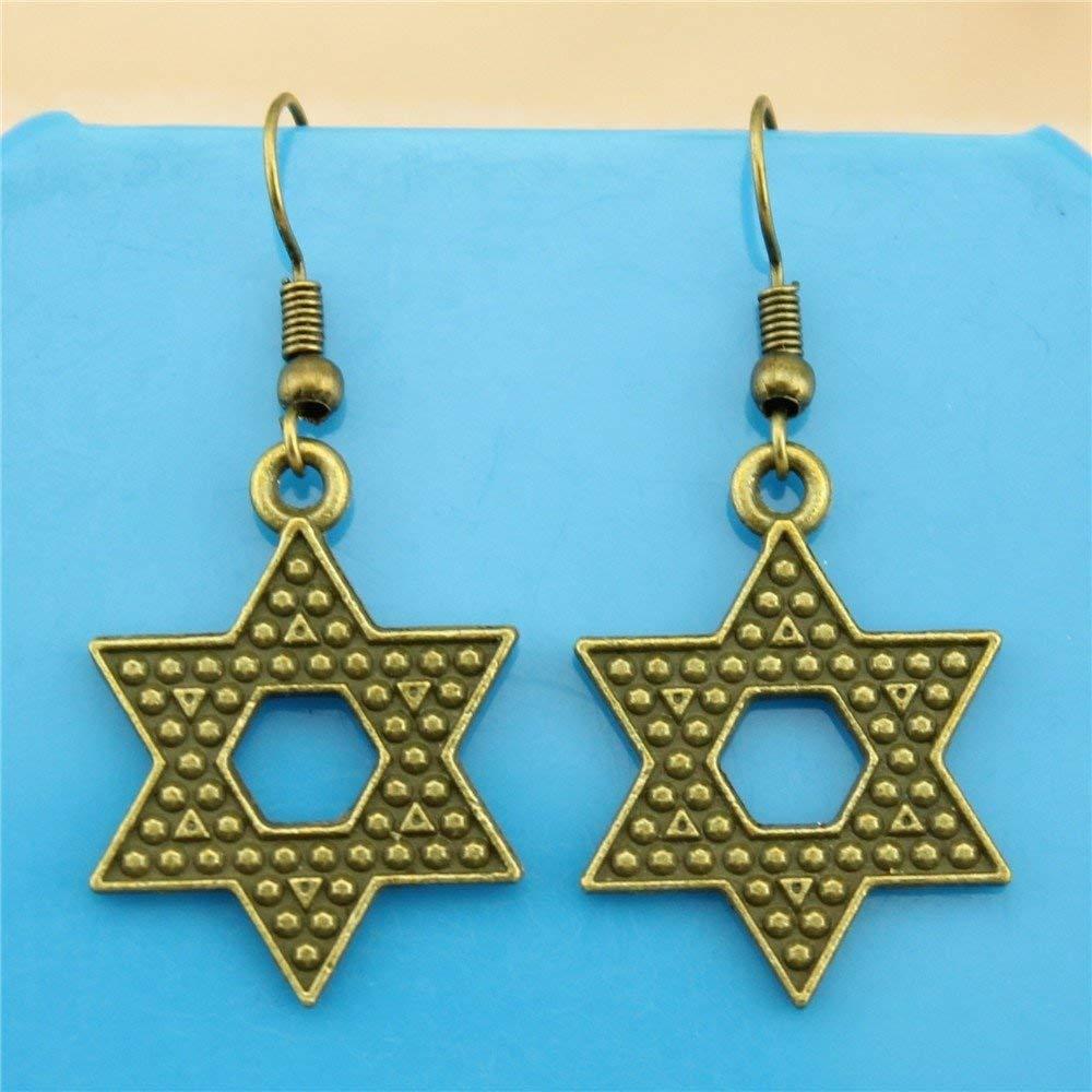 Taliyah 1 Pair Star of David Drop Earrings ModernS Earrings with Earring Cap
