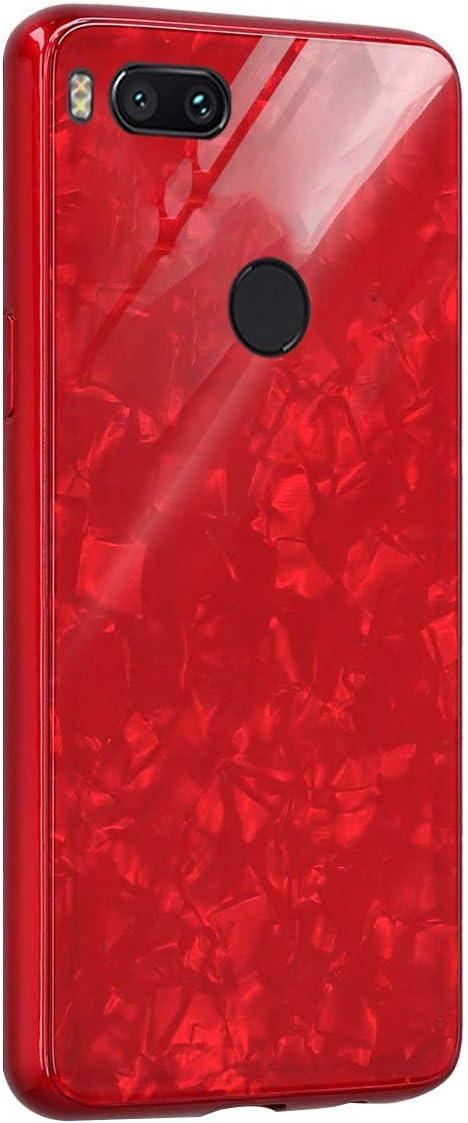 AIsoar Custodia per Xiaomi Mi A1/ Mi 5X Cover + Vetro Temperato Case Posteriore+Ultra Thin Slim Trasparente TPU Silicone Modello Custodia Antiurto Antigraffio Brillante Shell Rosso (red)