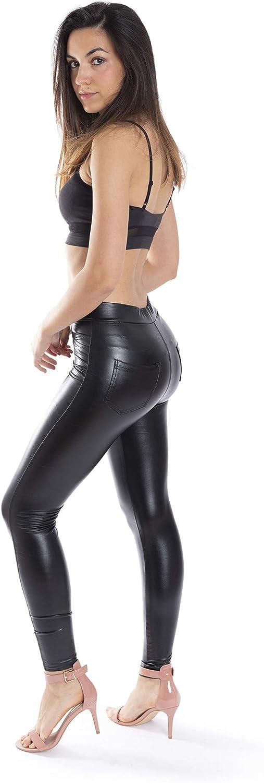 Trendcool Pantalon Cuero Mujer. Leggings Cuero Mujer Elasticos PU. Pantalones Sexy Polipiel Push Up. Pantalon Mujer de Vestir, Piel Sintetica Negro Brillante.