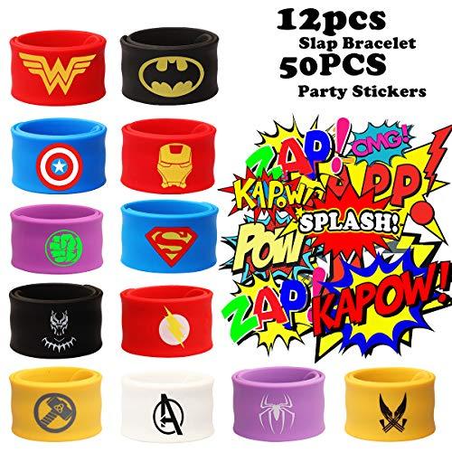 Birthday Supplies For Kids (12PCS Superhero Slap Bracelet for Kids Boys & Girls - Marvel The Avengers Birthday Party Supplies Favors - Super Hero Avengers Toys - Comic Super Hero Party Stickers (50 Pack))