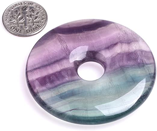 Natural Multi/_Color Rainbow Fluorite Ring Circle Donut Chakra Pendant Bead DIY Jewelry Accressory Necklace Kit 30mm