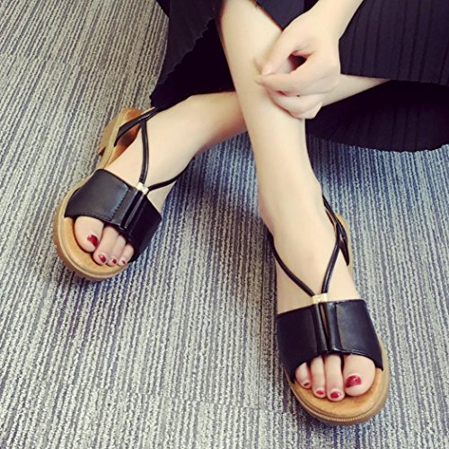 Shoes Women Bohemia Ouneed Shoes Sandals Black Flat Fashion zOxqC